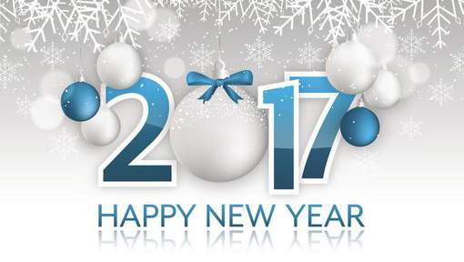 Happy New Year 2017 vector banner. Hanging bauble with bow, snow, snowflakes and blurred circles.